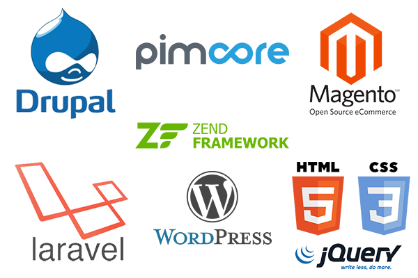 drupal wordpress magento pimcore laravel wordpress friulup